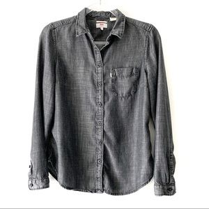 Levi's Black chambray tailored fit shirt size M